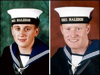 Submariner Anthony Huntrod, left, and leading operator mechanic Paul McCann