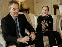 Prime Minister Tony Blair meets students