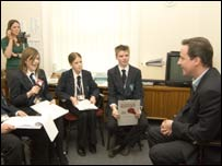 Conservative leader David Cameron meets students
