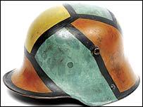 Camouflaged German steel helmet from World War I (image: Imperial war Museum)