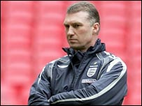 Nigel Pearson watches the England Under-21 team train at Wembley