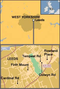 Map showing the homes being searched in Leeds