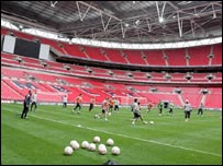 The Under-21 train at Wembley on Thursday
