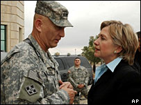 Senator Hillary Clinton talks to Gen Ray Odierno, commander of multi-national forces in Iraq