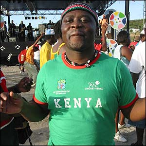 Wendy Munandi's photograph shows one of the many Kenyan fans cheering on their team in St Lucia