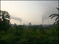 View of Kinshasa from across the Congo-Brazzaville border