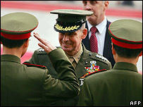 US chairman of the Joint Chief of Staffs, Gen Peter Pace, is saluted by Chinese military officers as he arrives for talks in Beijing - 22/03/07
