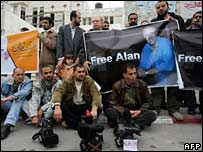Palestinian journalists hold a rally for missing BBC journalist Alan Johnston