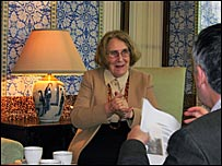 Marie-Helene Von Mach speaking to Allan Little