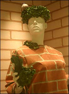 "An ""urban camouflage"" costume from David Byrne's film True Stories (photo taken by permission of Imperial War Museum)"