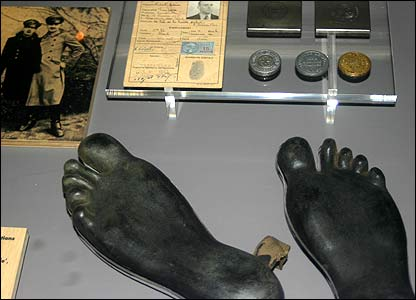 Rubber feet developed by Britain's SOE  (photo taken by permission of Imperial War Museum)