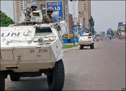 UN armoured vehicles on Kinshasa's main street