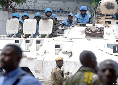 UN peacekeepers in Kinshasa