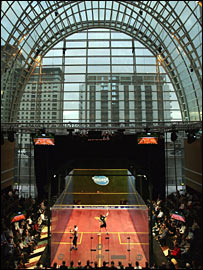 The Canary Wharf Squash Classic's glass court