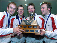 England's world champions - James Willstrop, Nick Matthew, Lee Beachill and Peter Nicol