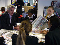 Peter Horrocks, L, with School Reporters