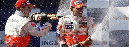Spraying champagne on the podium