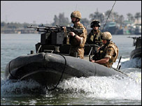 Royal Marines on waterways in the Basra