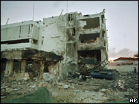 Wrecked US embassy in Dar es Salaam, 1998