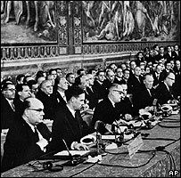 Signing on 25 March 1957 of the Treaty of Rome