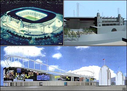 Three different proposals for designs of the new stadium from the 1990s, all incorporating the twin towers