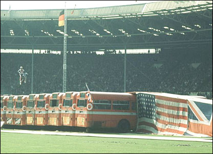 Evel Knievel attempts to jump over buses at Wembley in 1975