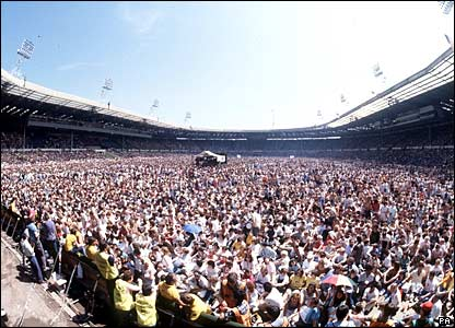Crowds at the Live Aid concert at Wembley in 1985