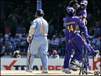 Sachin Tendulkar loses his wicket against Sri Lanka