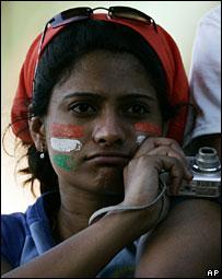 Dejected India fan after defeat against Sri Lanka
