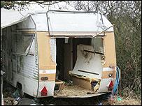 A hole was cut in the caravan