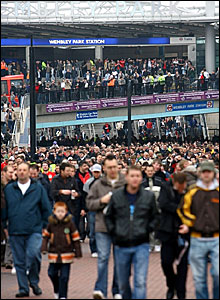 Supporters emerge from Wembley Park underground station