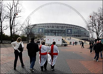 Fans start to arrive at Wembley