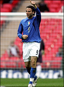 Giampaolo Pazzini celebrates after his 25-yard strike deflects in off Anton Ferdinand