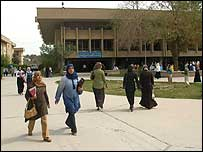 Students walking at Baghdad University