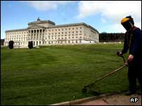 Grass being cut at Stormont