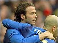 Giampaolo Pazzini (left) celebrates scoring for Italy