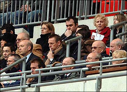 Manchester City and England Under-21 manager Stuart Pearce (centre) watches the game