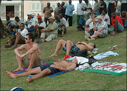 Dan Badger sent us another picture of the small army of Welsh fans taking a relaxing break during a match in Barbados