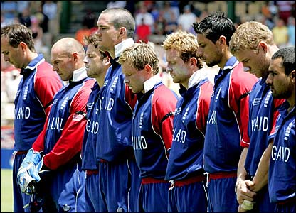 England players observe a minute's silence