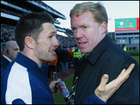 Robbie Keane (left) and Steve Staunton after Saturday's game