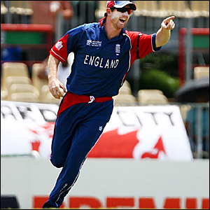Paul Collingwood celebrates taking a catch to dismiss Maurica Ouma