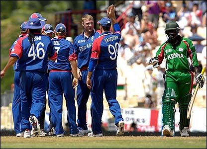 Andrew Flintoff (third right) is congratulated by Michael Vaughan after dismissing Thomas Odoyo