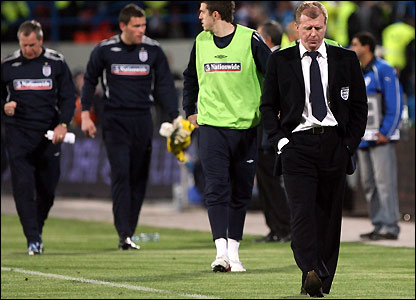 Steve McClaren leaves the pitch