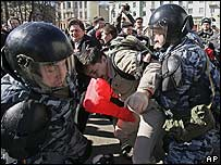 Riot police detain protesters during an opposition rally in Nizhny Novgorod