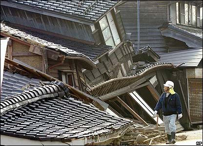Collapsed houses in Wajima