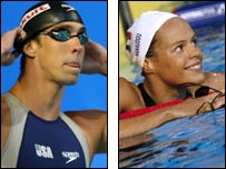 Michael Phelps and Laure Manaudou