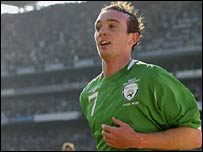Stephen Ireland celebrates the Republic of Ireland's winner in Dublin