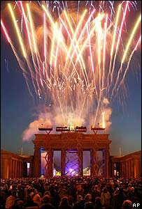 Fireworks explode above Berlin's Brandenburg Gate