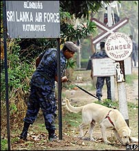Air force personnel use a sniffer dog outside the Katunayake base