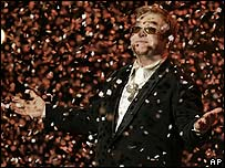 Elton John on stage during his concert in New York